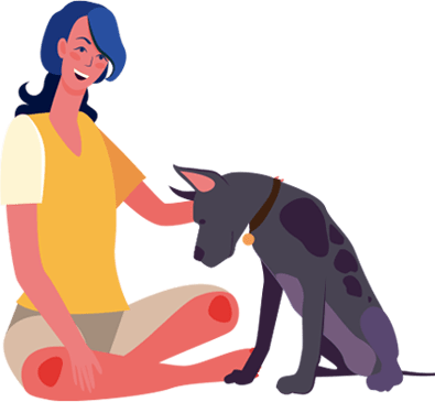 woman-petting-dog
